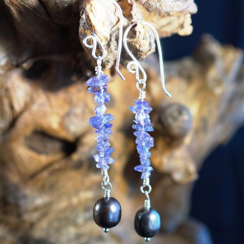 Tanzanite Pearl Dangle Earrings 01 Full View