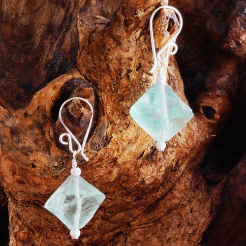 Sparkling Blue Fluorite Earrings 03 Full View