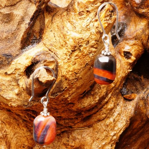 Rectangular Fire Agate Earrings 01 Full View