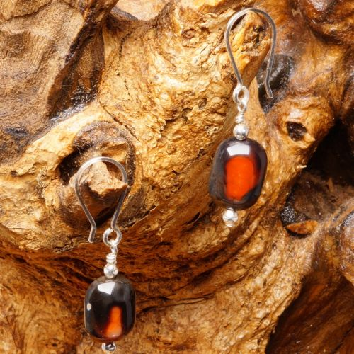 Rectangular Fire Agate Earrings 02 Full View