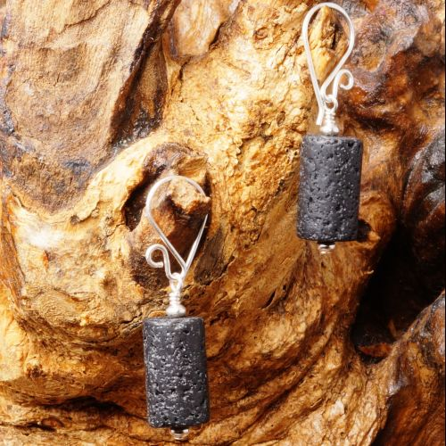 Lava Rock Earrings 01 Full View