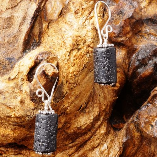 Lava Rock Earrings 02 Full View