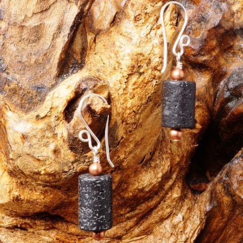 Lava Rock Earrings 03 Full View