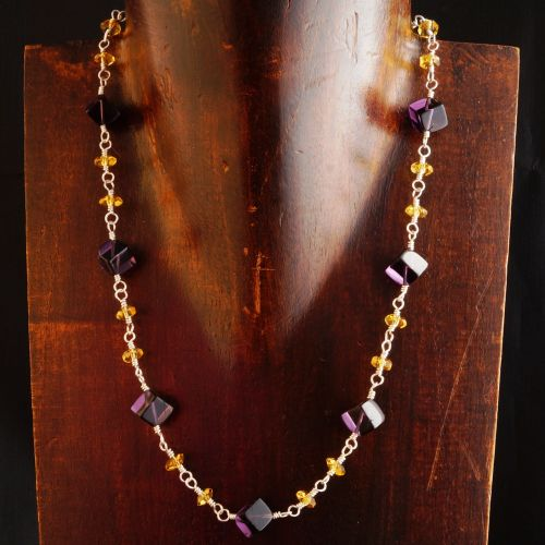 Amethyst and Citrine Choker 01 -Abundance Full View