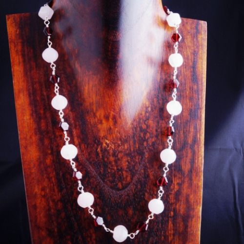 Garnet Rose Quartz Necklace 01 Full View