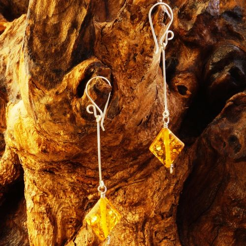 Suspended Amber Diamond Earrings 02 Full View