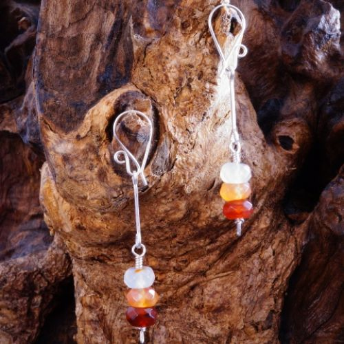 Sparkling Carnelian Earrings 03 Full View