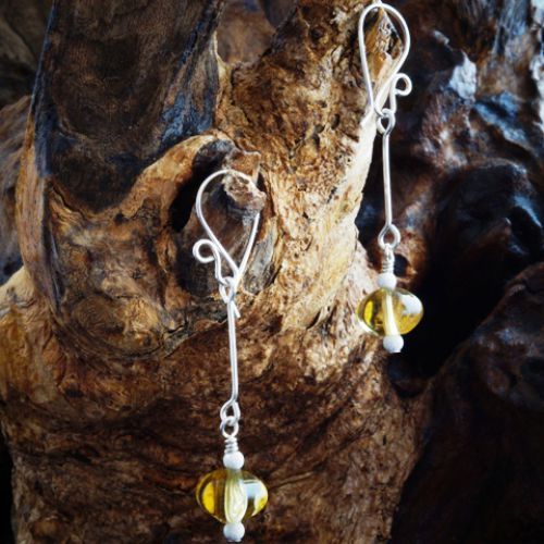 Suspended Starburst Pumpkin Citrine Earrings 01 Full View