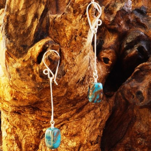 Suspended Larimar Blue Jasper Earrings 01 Full View