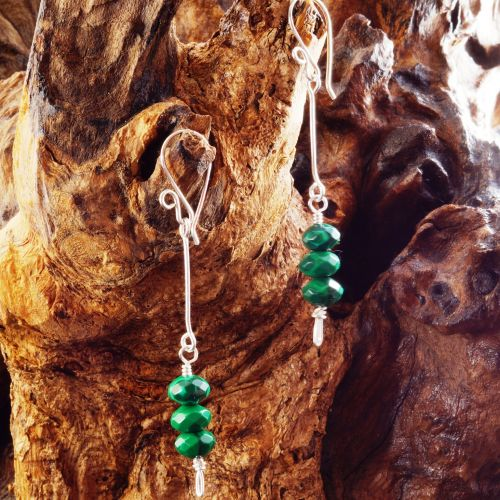 Suspended Stacked Malachite Earrings 01 Full View