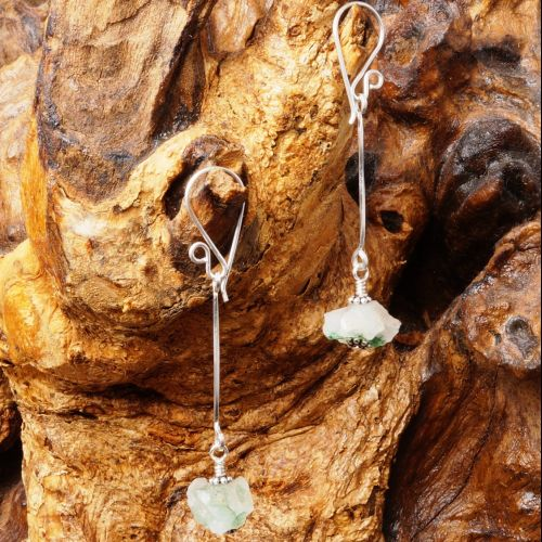 Natural Green Quartz Suspended Earrings 02 Full View