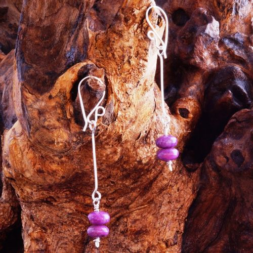 Suspended Stacked Sugilite Earrings 01 Full View