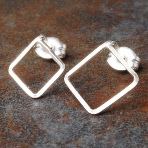 Diamond Sterling Silver Asymmetric Studs Full View