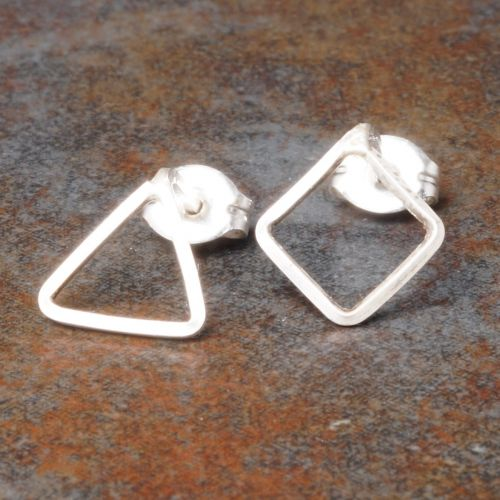 Diamond Triangle Sterling Silver Asymmetric Studs