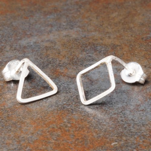 Diamond Triangle Sterling Silver Asymmetric Studs Full View