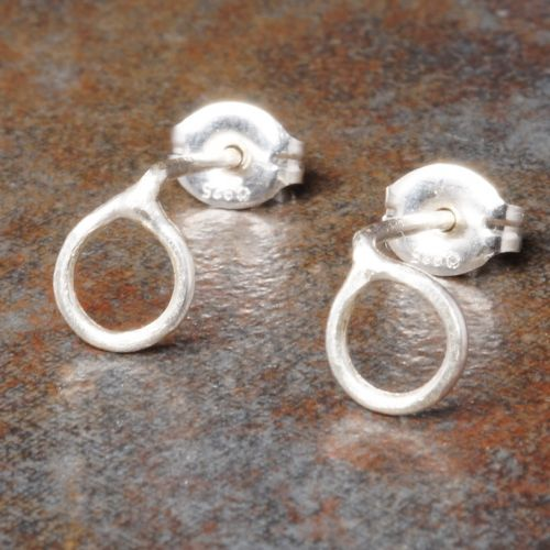 Round Sterling Silver Studs - Small Closeup