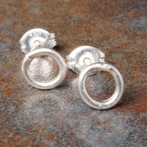 Round Sterling Silver Studs - Small Full View