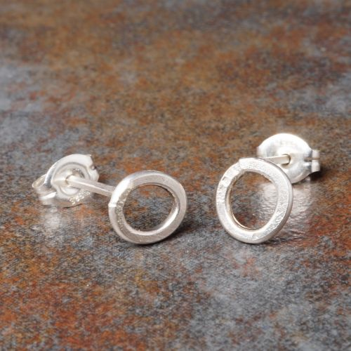Hammered Round Sterling Silver Studs - Small