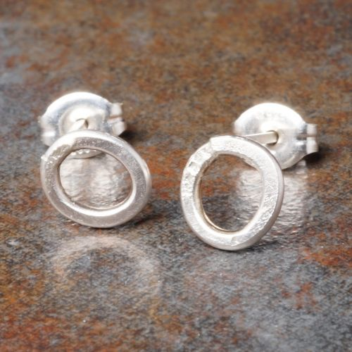 Hammered Round Sterling Silver Studs - Small Closeup