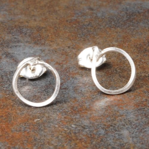 Round Sterling Silver Studs - Medium Full View