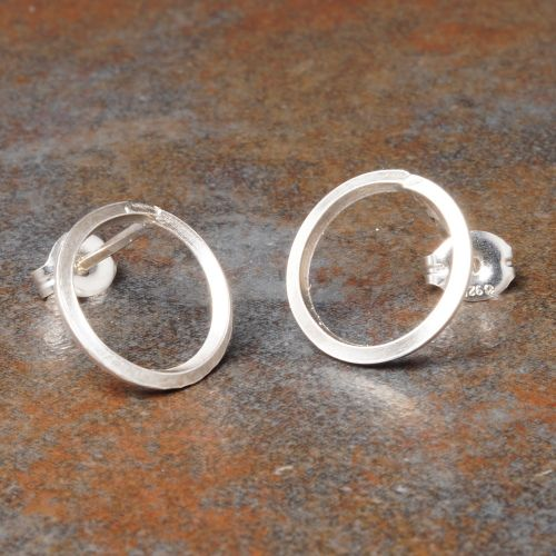 Round Sterling Silver Studs - Large Full View