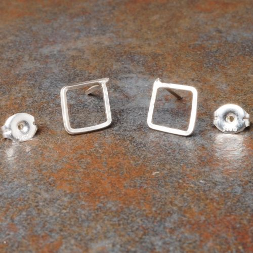 Diamond Sterling Silver Studs - Small Full View