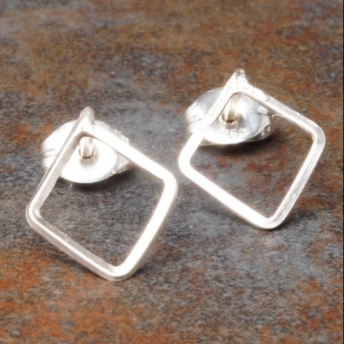Diamond Sterling Silver Studs - Large Full View