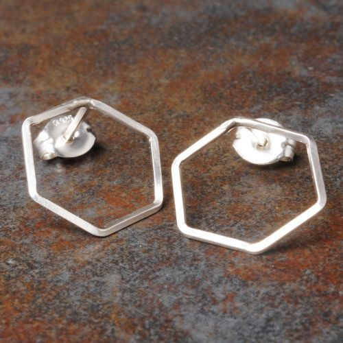 Hexagonal Sterling Silver Studs Full View