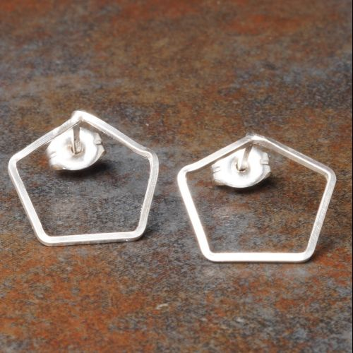 Pentagonal Sterling Silver Studs Full View