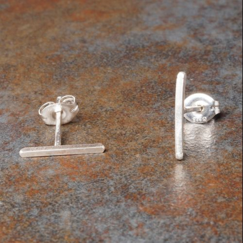 Bar Sterling Silver Studs Closeup