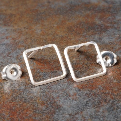 Square Sterling Silver Studs - Large Closeup
