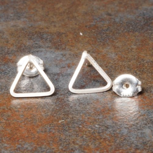 Triangle Sterling Silver Studs - Medium Full View